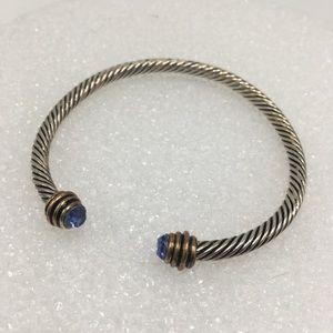 Jewelry - Silver twist blue crystal sapphire bracelet